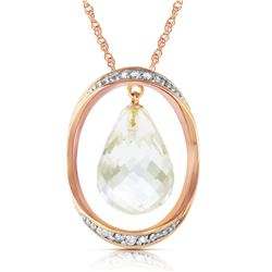 Genuine 11.60 ctw White Topaz & Diamond Necklace Jewelry 14KT Rose Gold - REF-112K2V