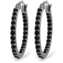 Genuine 0.81 ctw Black Diamond Earrings Jewelry 14KT White Gold - REF-97A2K