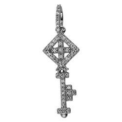 0.12 CTW Diamond Necklace 14K White Gold - REF-19F3N