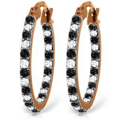 Genuine 0.81 ctw White & Black Diamond Earrings Jewelry 14KT Rose Gold - REF-116P6H
