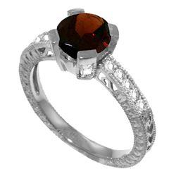Genuine 1.80 ctw Garnet & Diamond Ring Jewelry 14KT White Gold - REF-98N3R