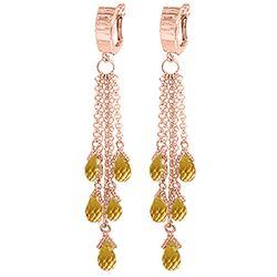 Genuine 7.3 ctw Citrine Earrings Jewelry 14KT Rose Gold - REF-62P3H