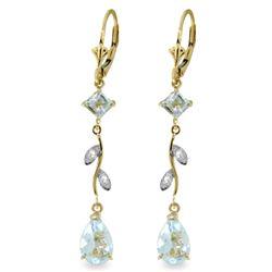 Genuine 3.97 ctw Aquamarine & Diamond Earrings Jewelry 14KT Yellow Gold - REF-56P4H
