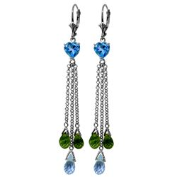 Genuine 9.5 ctw Blue Topaz & Peridot Earrings Jewelry 14KT White Gold - REF-62N2R