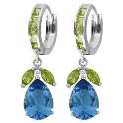 Genuine 14.3 ctw Blue Topaz & Peridot Earrings Jewelry 14KT White Gold - REF-82Y9F