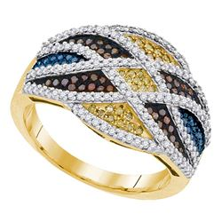 0.76 CTW Multicolor Diamond Fashion Ring 10KT Yellow Gold - REF-71H9M
