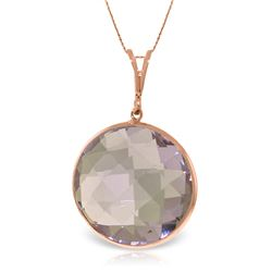 Genuine 18 ctw Amethyst Necklace Jewelry 14KT Rose Gold - REF-55K5V