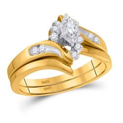 0.17 CTW Marquise Diamond Bridal Engagement Ring 14KT Yellow Gold - REF-49K5W