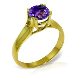 Genuine 1.10 ctw Amethyst Ring Jewelry 14KT Yellow Gold - REF-57P3H