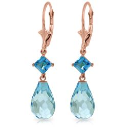 Genuine 11 ctw Blue Topaz Earrings Jewelry 14KT Rose Gold - REF-39F3Z
