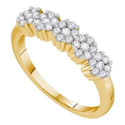 0.25 CTW Diamond Five Flower Cluster Ring 14KT Yellow Gold - REF-34N4F