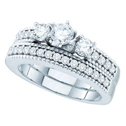 1 CTW Diamond 3-Stone Bridal Engagement Ring 14KT White Gold - REF-165M2H