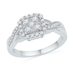 0.33 CTW Diamond Square Cluster Ring 10KT White Gold - REF-37Y5X