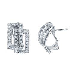 0.92 CTW Diamond Earrings 14K White Gold - REF-69M3F