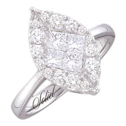 0.53 CTW Princess Diamond Soleil Cluster Bridal Engagement Ring 14KT White Gold - REF-97H4M