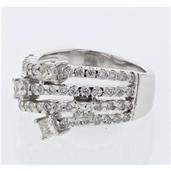 1.27 CTW Diamond Ring 18K White Gold - REF-145F2N