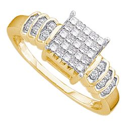0.33 CTW Princess Diamond Cluster Bridal Engagement Ring 14KT Yellow Gold - REF-30N2F