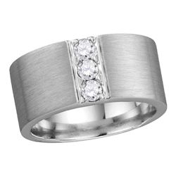 0.50 CTW Mens Diamond 3-stone Matte Wedding Ring 14KT White Gold - REF-187X4Y