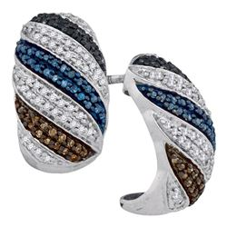 0.56 CTW Black Blue Brown Color Diamond Half Hoop Earrings 10KT White Gold - REF-44N9F