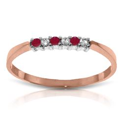 Genuine 0.11 ctw Ruby & Diamond Ring Jewelry 14KT Rose Gold - REF-27F5Z