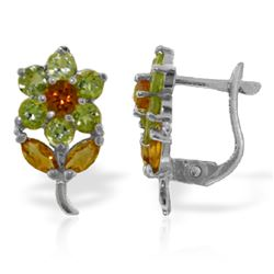 Genuine 2.12 ctw Citrine & Peridot Earrings Jewelry 14KT White Gold - REF-36H8X