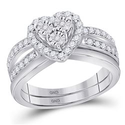 0.75 CTW Diamond Heart Bridal Engagement Ring 10KT White Gold - REF-71H3M