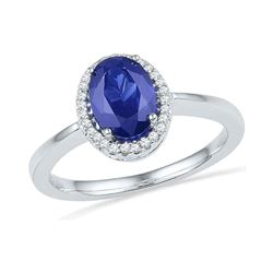 0.08 CTW Oval Created Blue Sapphire Solitaire Ring 10KT White Gold - REF-20X9Y