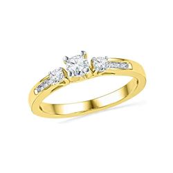 0.50 CTW Diamond 3-stone Bridal Engagement Ring 10KT Yellow Gold - REF-57Y2X