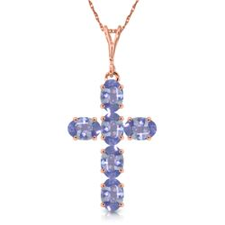 Genuine 1.50 ctw Tanzanite Necklace Jewelry 14KT Rose Gold - REF-44R7P