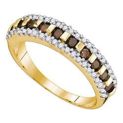 0.50 CTW Cognac-brown Color Diamond Triple Row Ring 10KT Yellow Gold - REF-22K4W