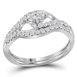 0.50 CTW Diamond 2-Stone Bridal Wedding Engagement Ring 10KT White Gold - REF-36F2N