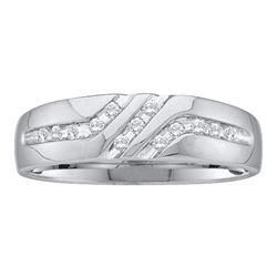 0.12 CTW Mens Channel-set Diamond Triple Row Wedding Ring 10KT White Gold - REF-14K9W