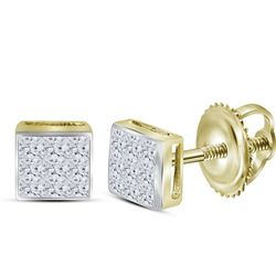 0.24 CTW Princess Diamond Square Cluster Stud Earrings 14KT Yellow Gold - REF-18X7Y