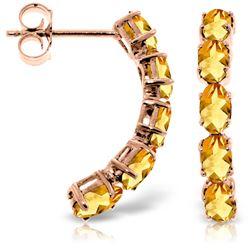 Genuine 2.5 ctw Citrine Earrings Jewelry 14KT Rose Gold - REF-37K4V