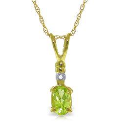 Genuine 0.46 ctw Peridot & Diamond Necklace Jewelry 14KT Yellow Gold - REF-21F6Z