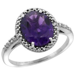 Natural 2.42 ctw Amethyst & Diamond Engagement Ring 14K White Gold - REF-34Z7Y