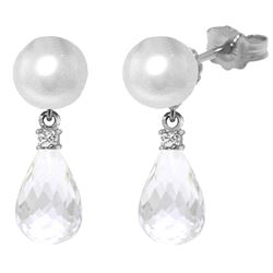 Genuine 6.6 ctw White Topaz & Diamond Earrings Jewelry 14KT White Gold - REF-27X6M