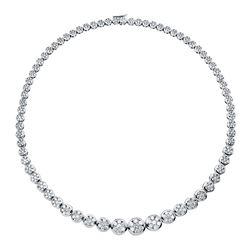 13 CTW Diamond Necklace 18K White Gold - REF-1124Y3X