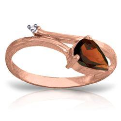 Genuine 0.83 ctw Garnet & Diamond Ring Jewelry 14KT Rose Gold - REF-40N5R