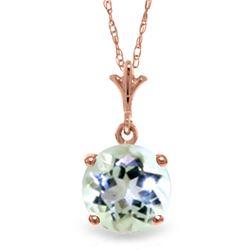 Genuine 1.15 ctw Aquamarine Necklace Jewelry 14KT Rose Gold - REF-22F8Z