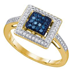 0.25 CTW Blue Color Diamond Square Ring 10KT Yellow Gold - REF-25K4W