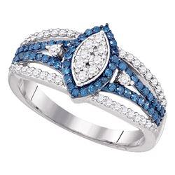 0.85 CTW Diamond Halo Cluster Ring 10KT White Gold - REF-44K9W