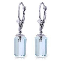 Genuine 9 ctw Blue Topaz Earrings Jewelry 14KT White Gold - REF-25H6X