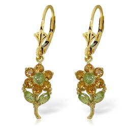Genuine 2.12 ctw Peridot & Citrine Earrings Jewelry 14KT Yellow Gold - REF-42M4T