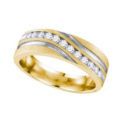 0.26 CTW Mens Diamond Wedding Anniversary Ring 10KT Two-tone Gold - REF-41N9F