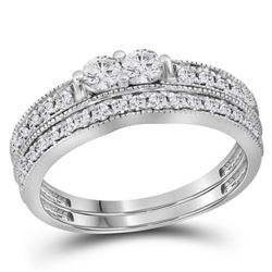 0.75 CTW Diamond 2-Stone Bridal Wedding Engagement Ring 14KT White Gold - REF-75Y2X