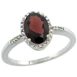 Natural 1.2 ctw Garnet & Diamond Engagement Ring 14K White Gold - REF-23Y7X