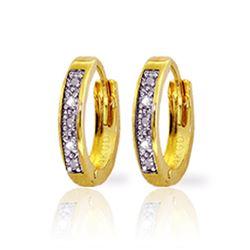 Genuine 0.02 ctw Diamond Anniversary Earrings Jewelry 14KT Yellow Gold - REF-27T5A