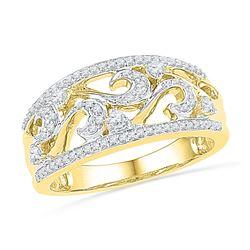0.33 CTW Diamond Filigree Ring 10KT Yellow Gold - REF-32X9Y