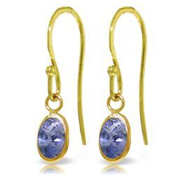 Genuine 1 ctw Tanzanite Earrings Jewelry 14KT Yellow Gold - REF-20P8H